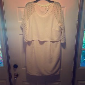 Soft off white and gold popover dress
